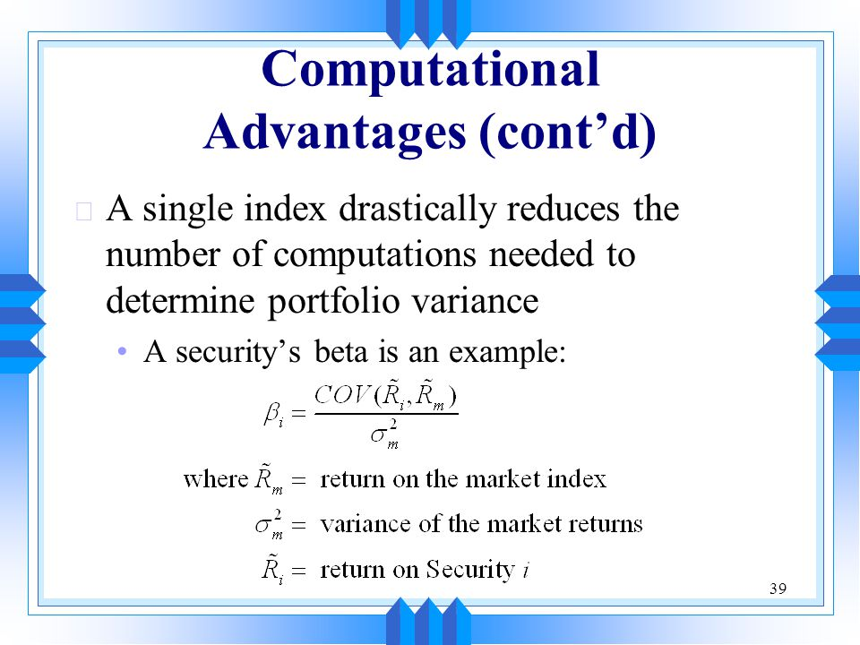 Computational Advantages (cont'd)