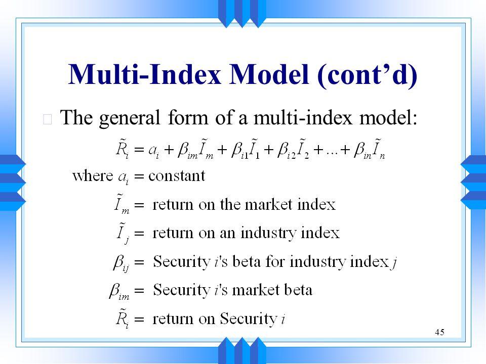 Multi-Index Model (cont'd)