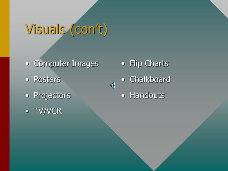 Visuals (con't) Computer Images Posters Projectors TV/VCR Flip Charts