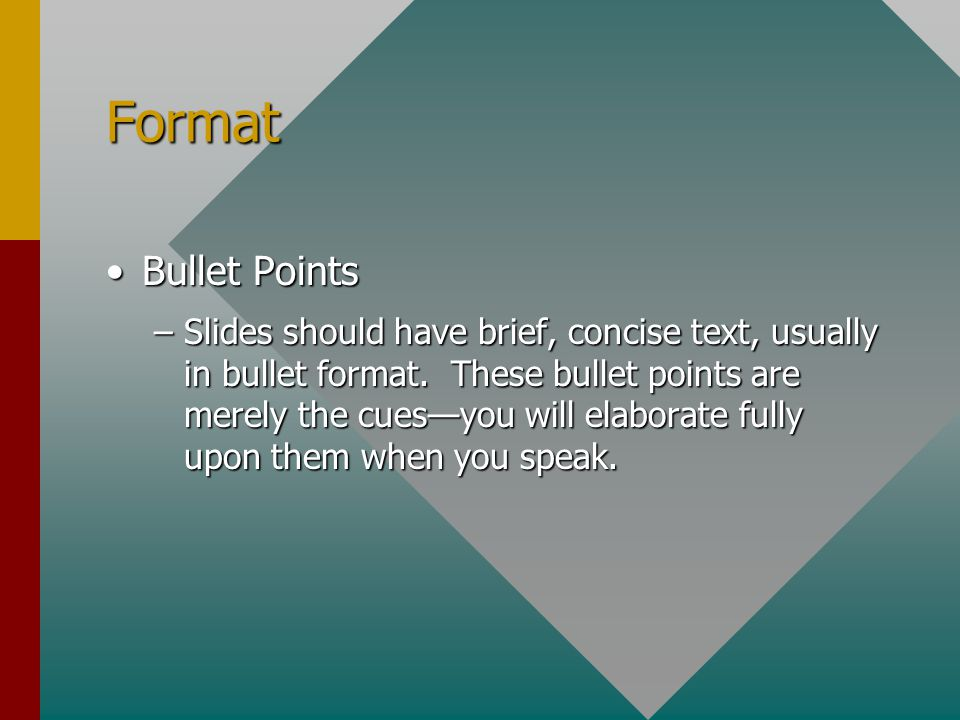 Format Bullet Points.