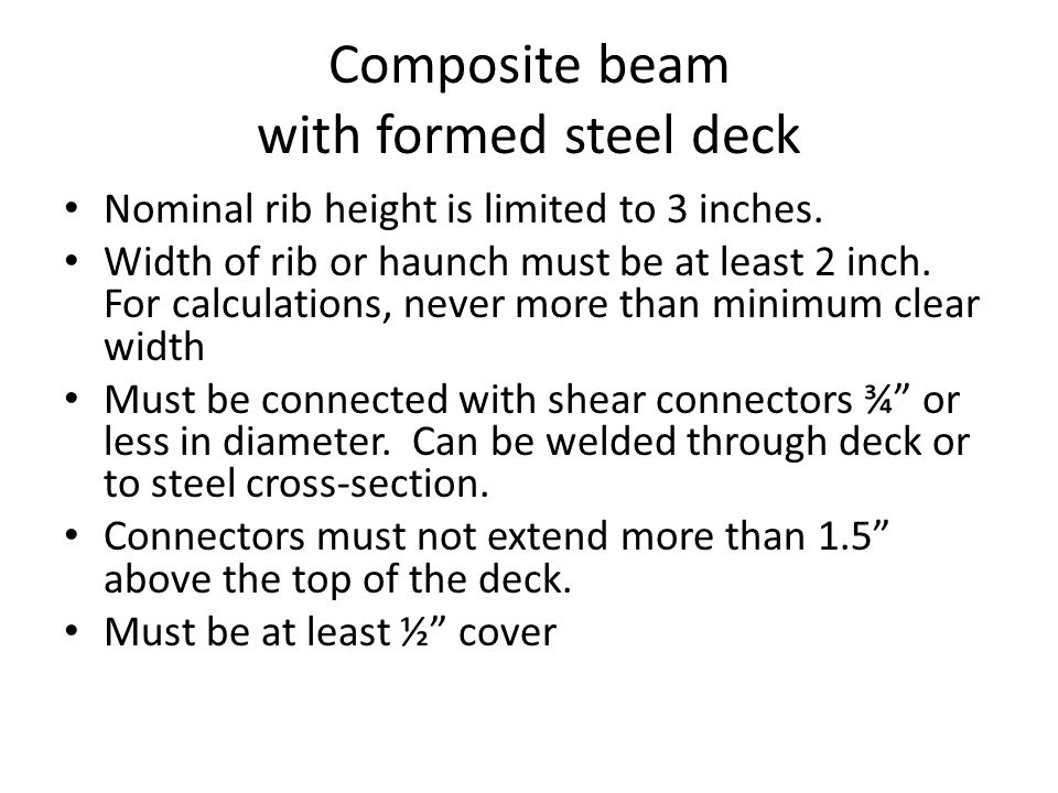 Composite beam with formed steel deck