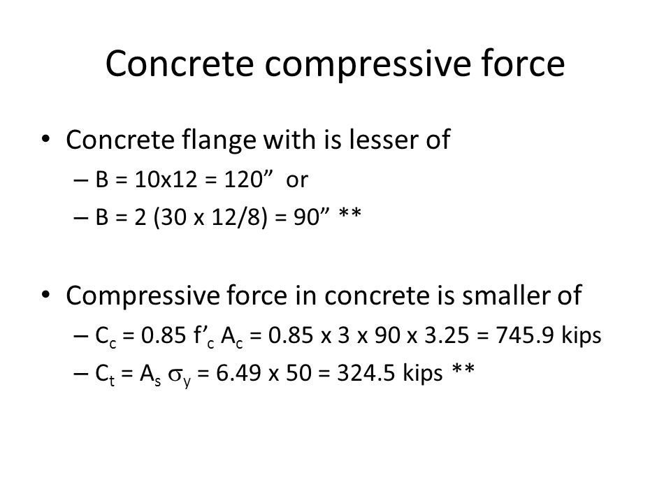 Concrete compressive force