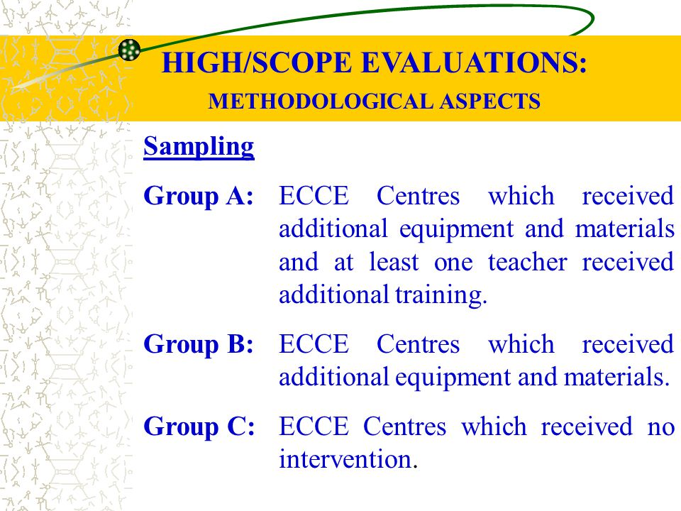 HIGH/SCOPE EVALUATIONS: METHODOLOGICAL ASPECTS