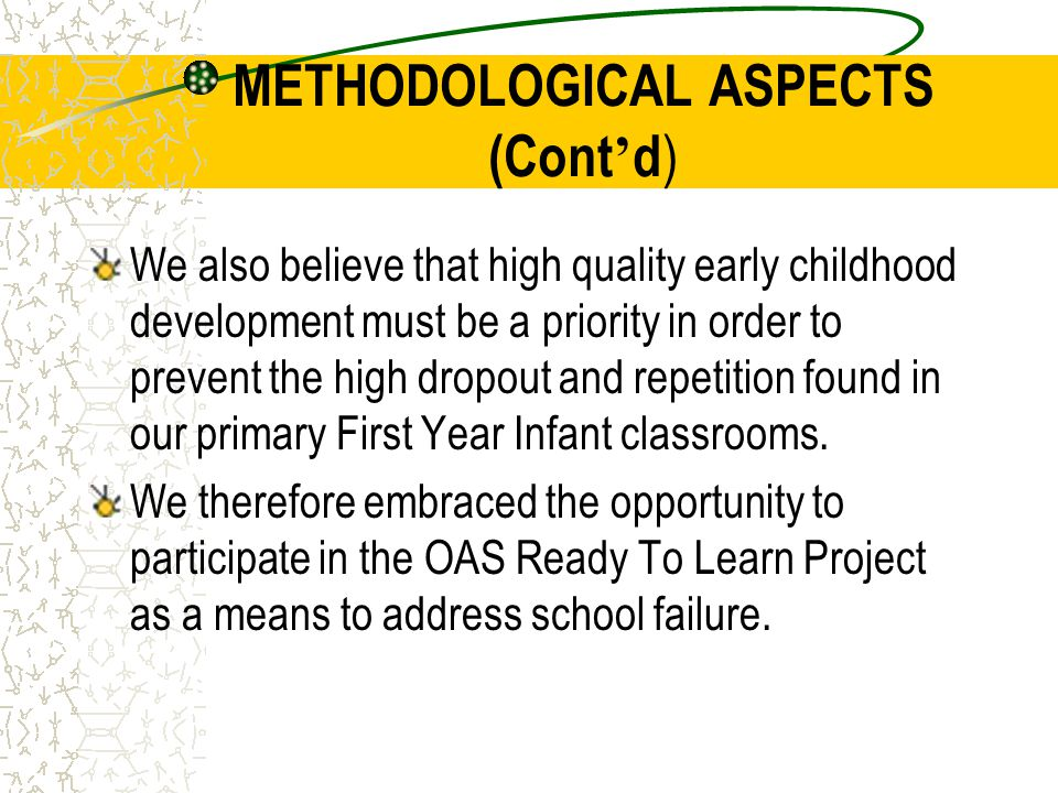 METHODOLOGICAL ASPECTS (Cont'd)