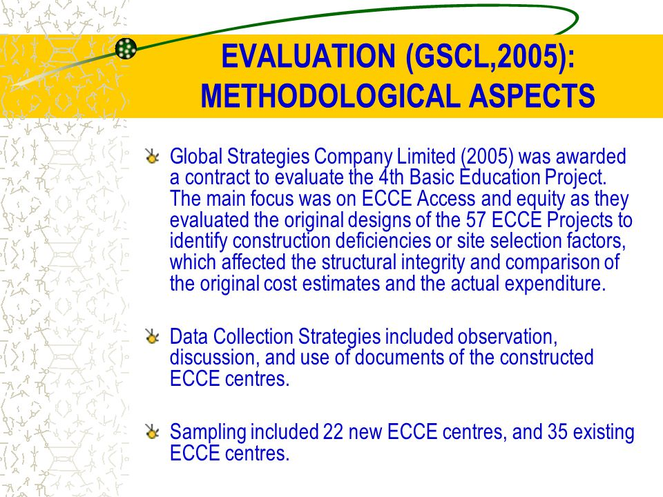 EVALUATION (GSCL,2005): METHODOLOGICAL ASPECTS