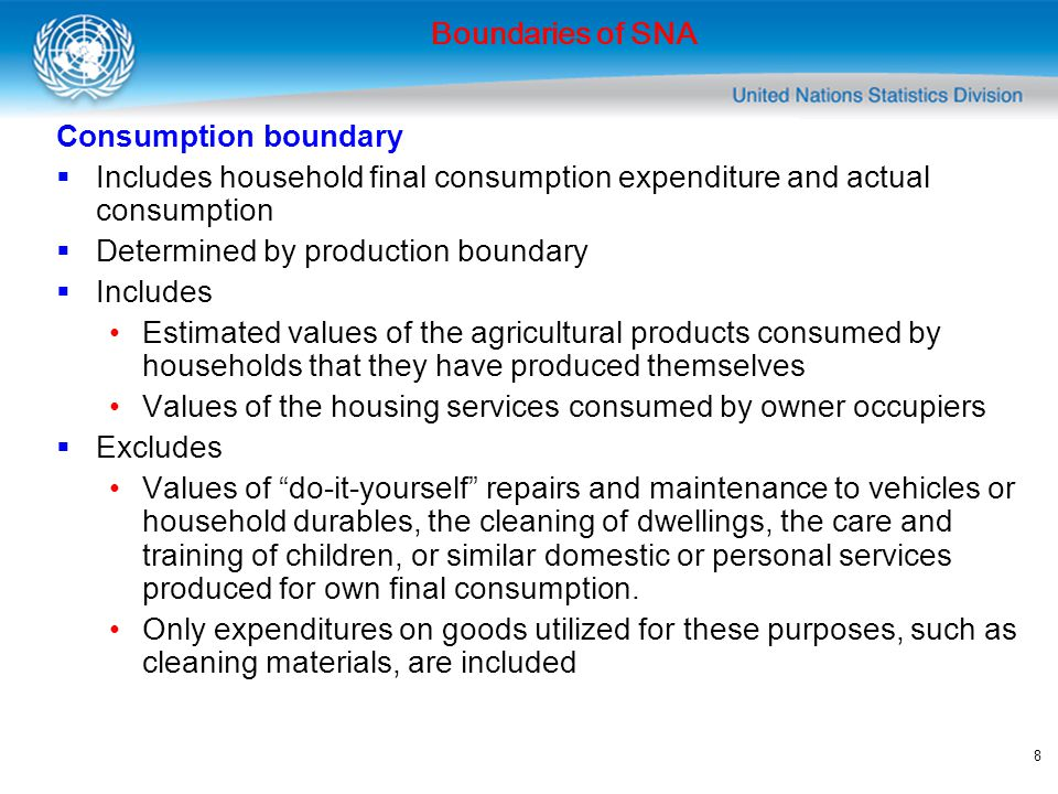 Boundaries of SNA Consumption boundary. Includes household final consumption expenditure and actual consumption.