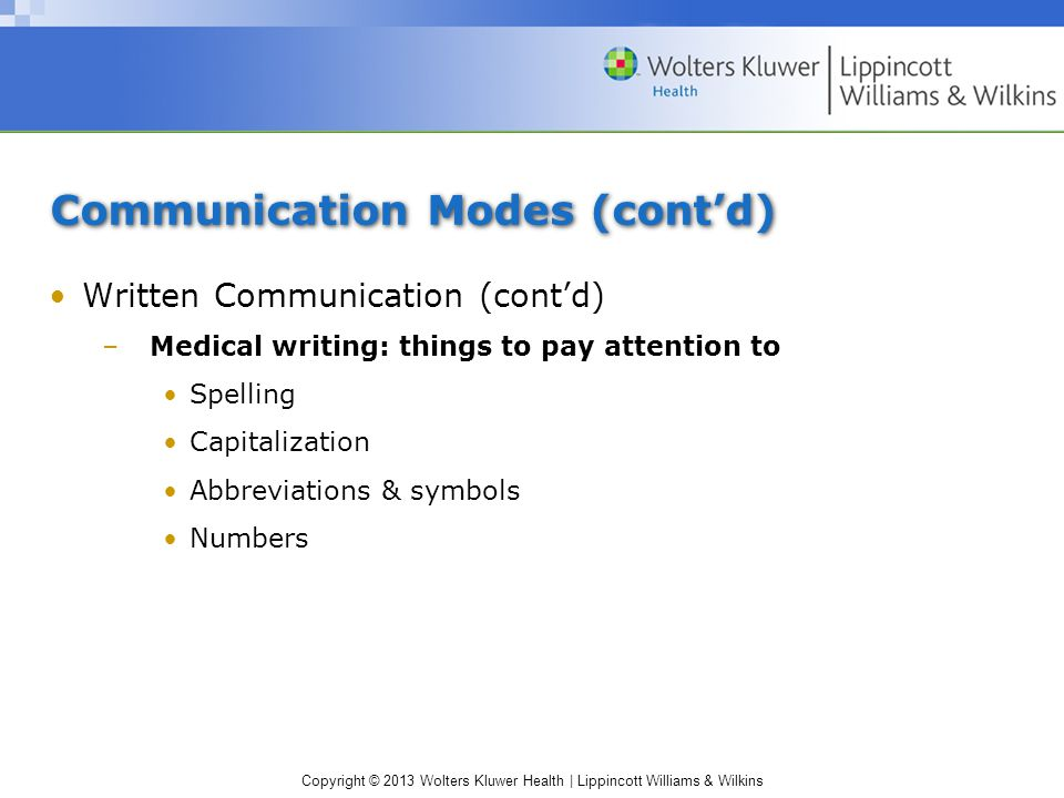 Communication Modes (cont'd)