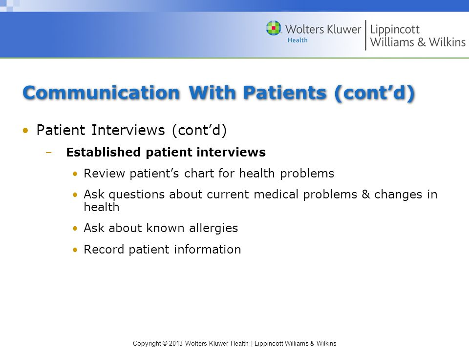 Communication With Patients (cont'd)