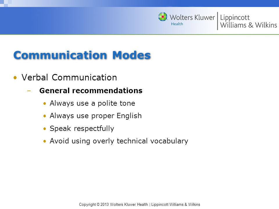 Communication Modes Verbal Communication General recommendations