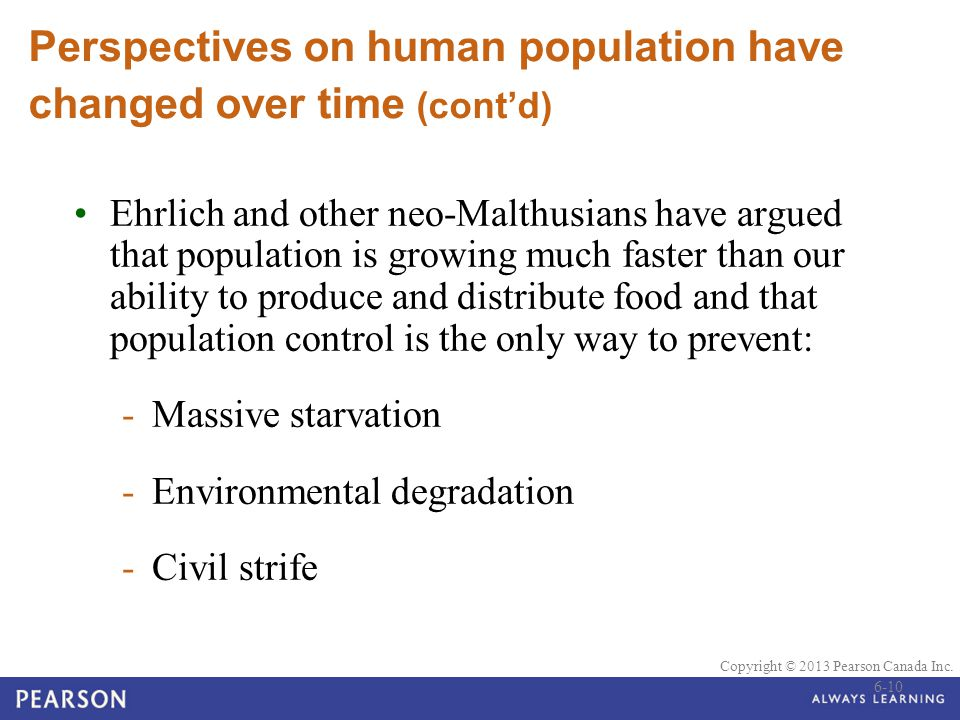 Perspectives on human population have changed over time (cont'd)