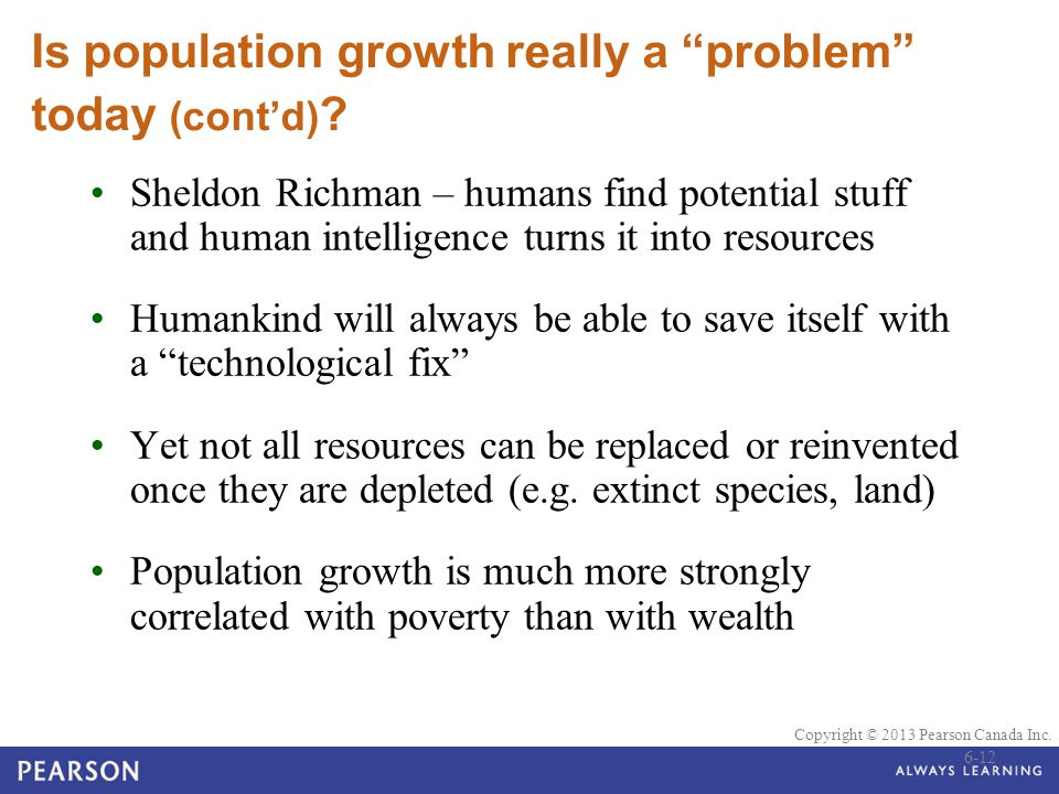 Is population growth really a problem today (cont'd)