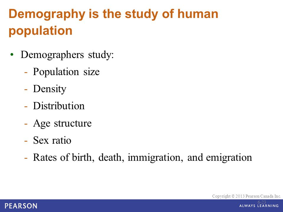 Demography is the study of human population