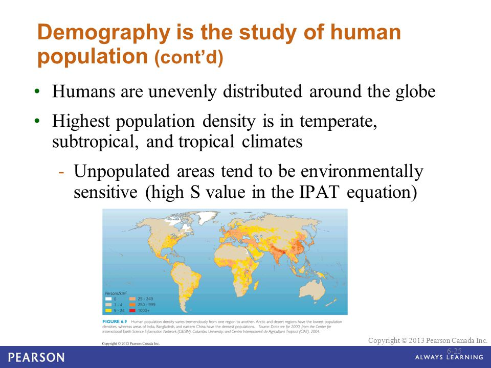 Demography is the study of human population (cont'd)