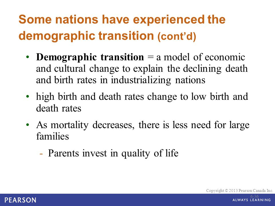 Some nations have experienced the demographic transition (cont'd)
