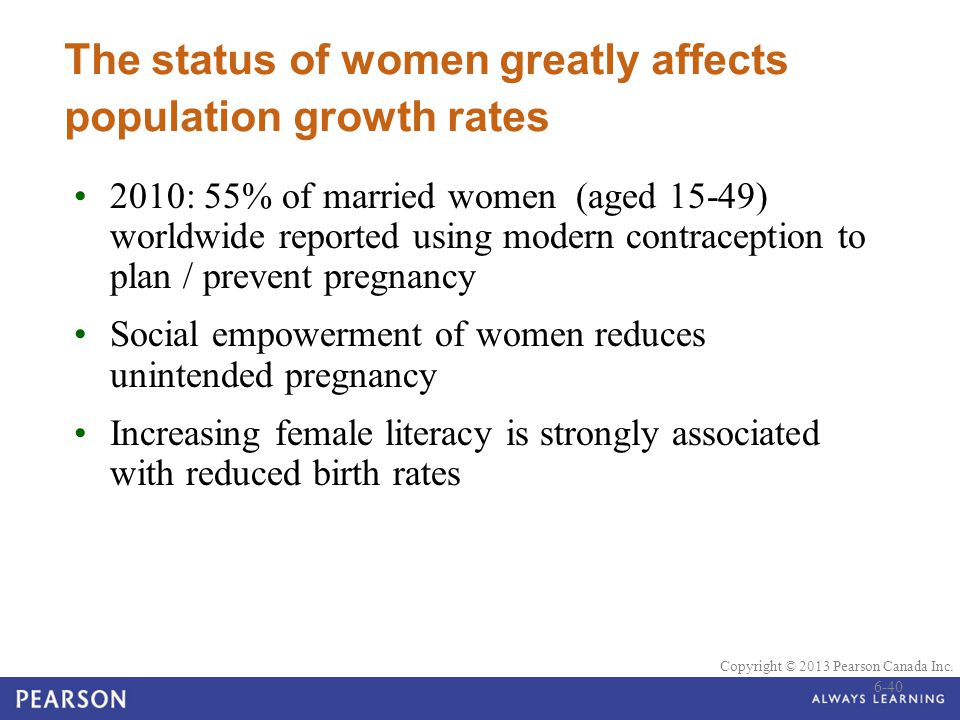 The status of women greatly affects population growth rates