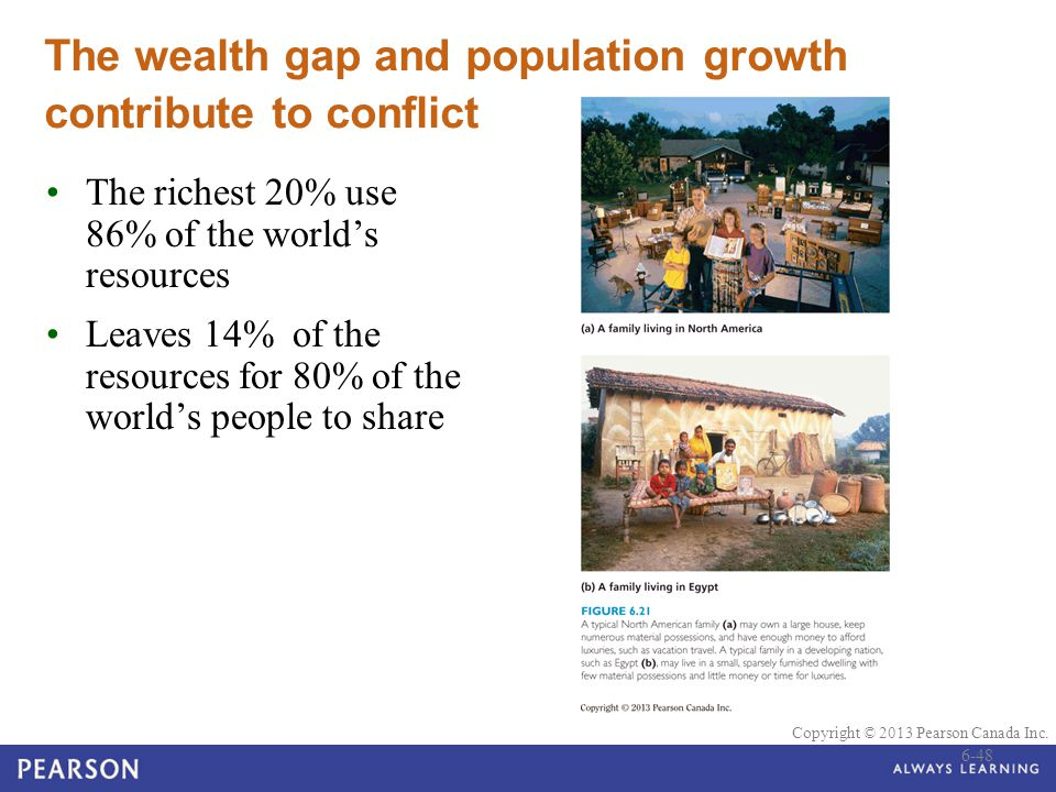 The wealth gap and population growth contribute to conflict