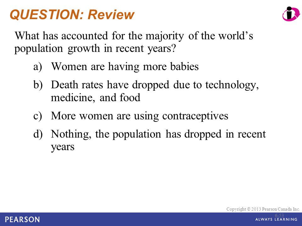 QUESTION: Review What has accounted for the majority of the world's population growth in recent years