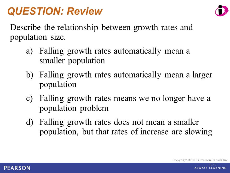 QUESTION: Review Describe the relationship between growth rates and population size. a) Falling growth rates automatically mean a smaller population.