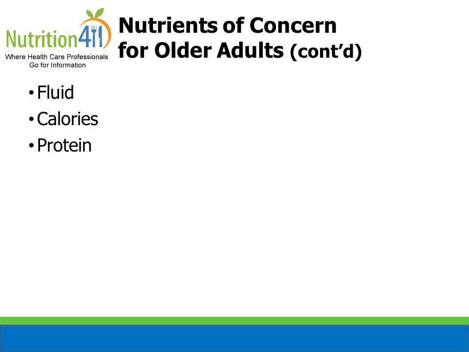 Nutrients of Concern for Older Adults (cont'd)