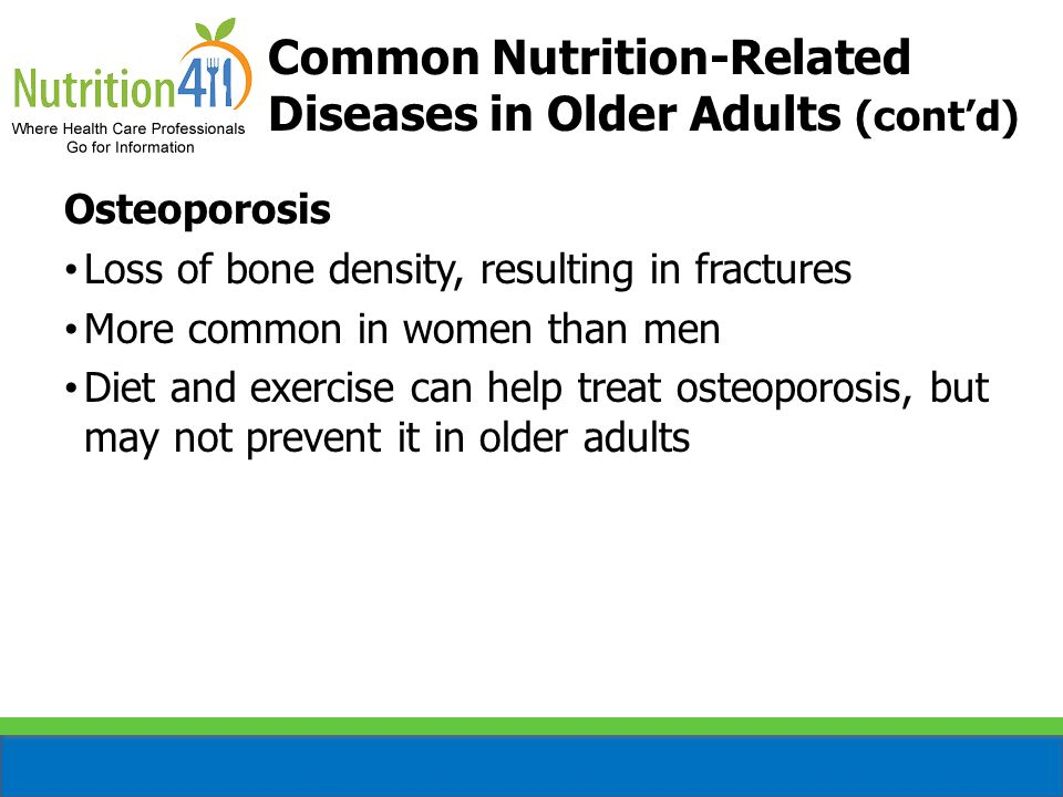 Common Nutrition-Related Diseases in Older Adults (cont'd)