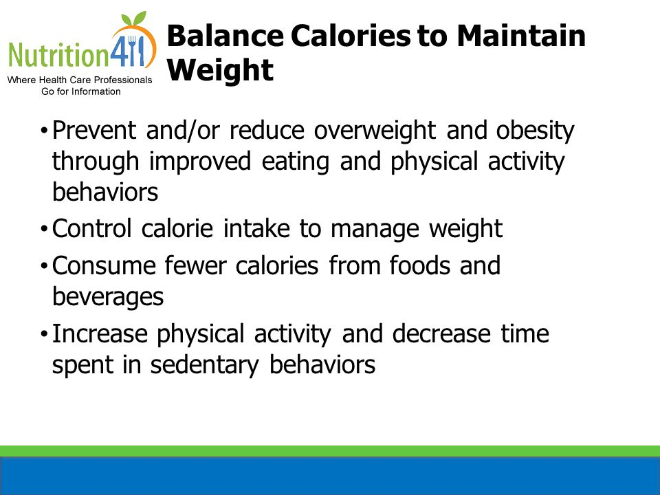 Balance Calories to Maintain Weight