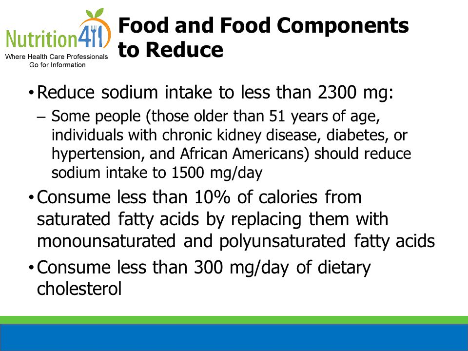 Food and Food Components to Reduce