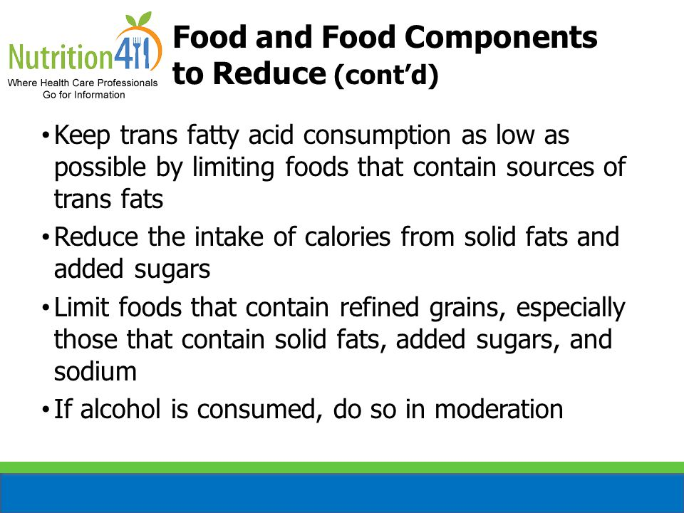 Food and Food Components to Reduce (cont'd)