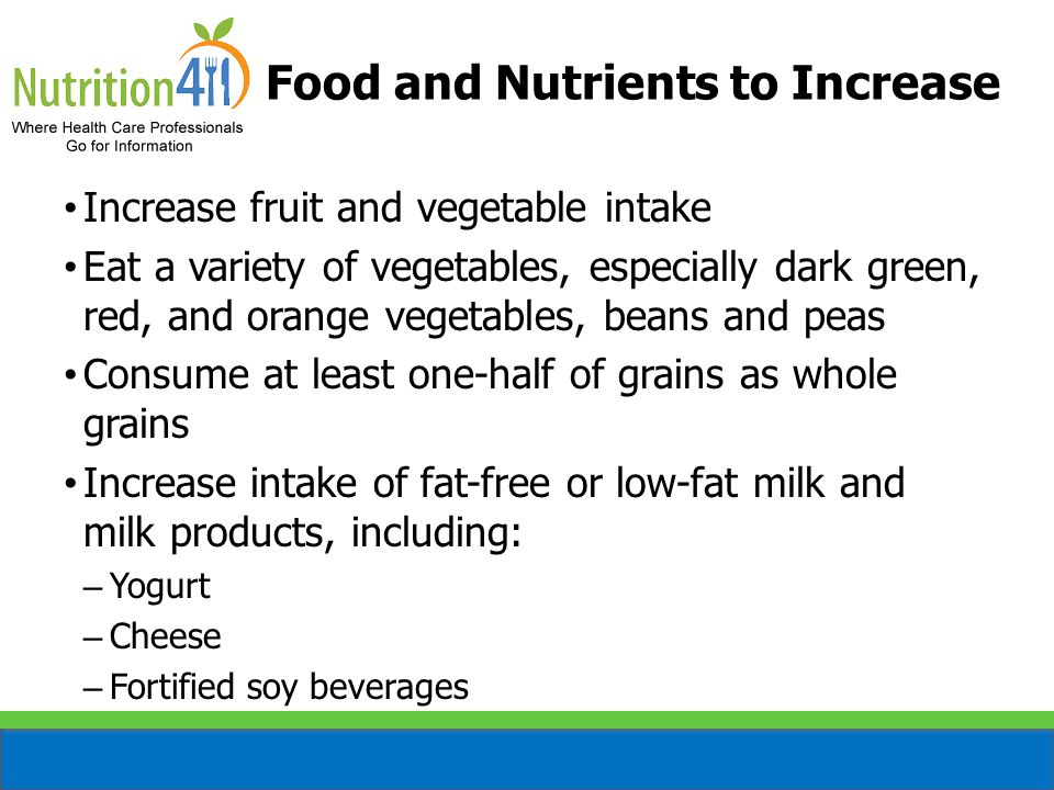 Food and Nutrients to Increase