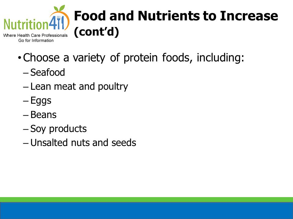 Food and Nutrients to Increase (cont'd)