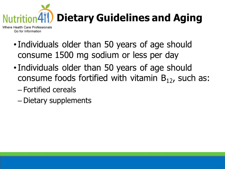 Dietary Guidelines and Aging