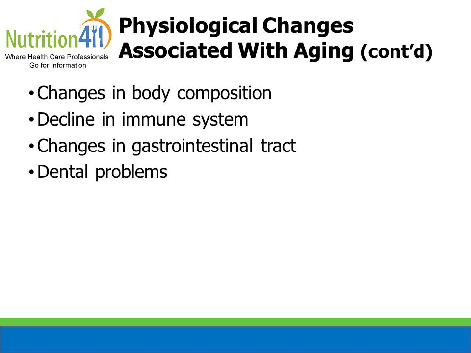 Physiological Changes Associated With Aging (cont'd)