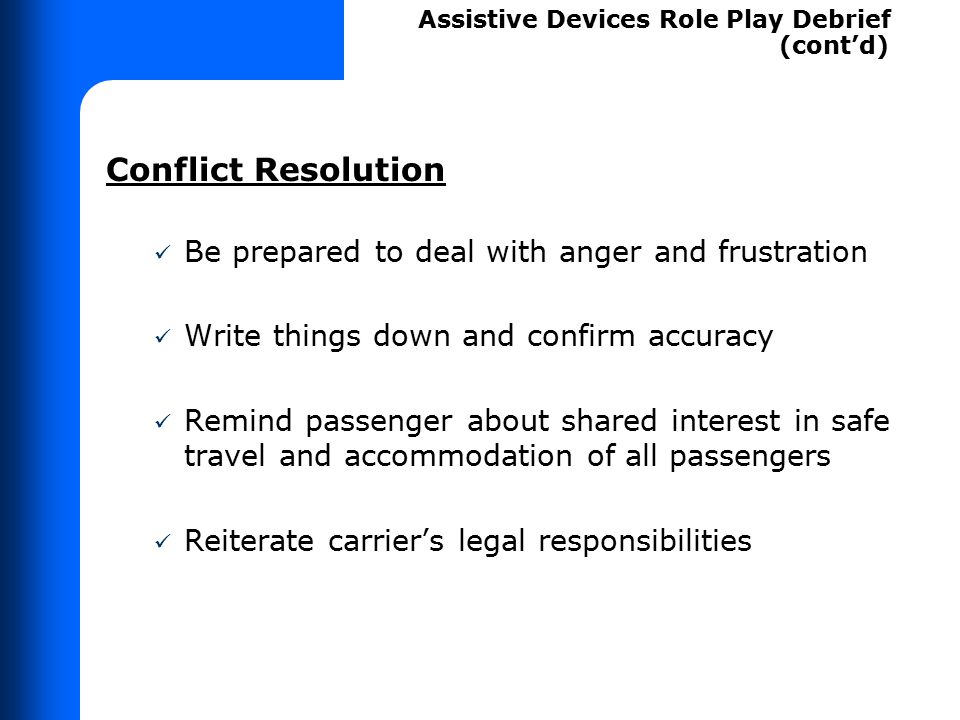 Demonstrating Law on Assistive Devices – Role Play