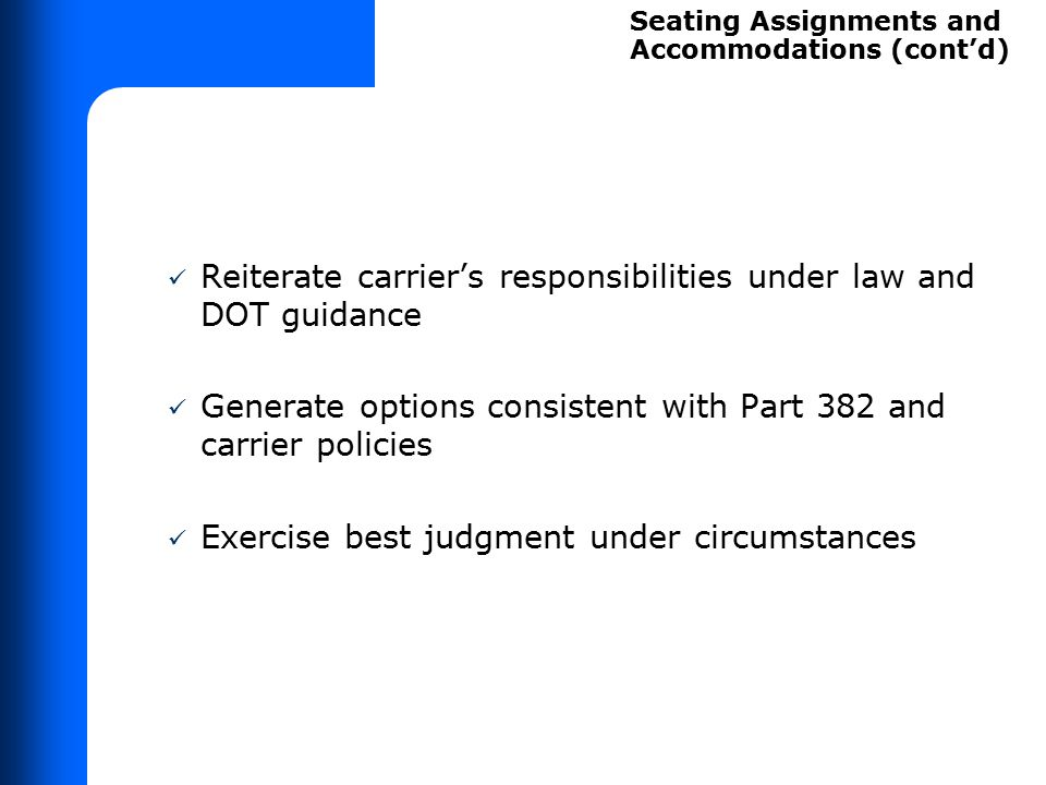 SEATING ASSIGNMENT SHORT EXERCISE DEBRIEF