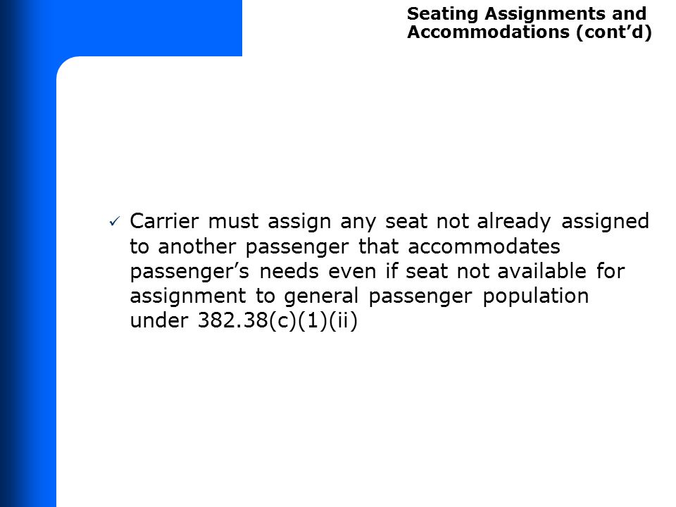 Advance Seat Assignments