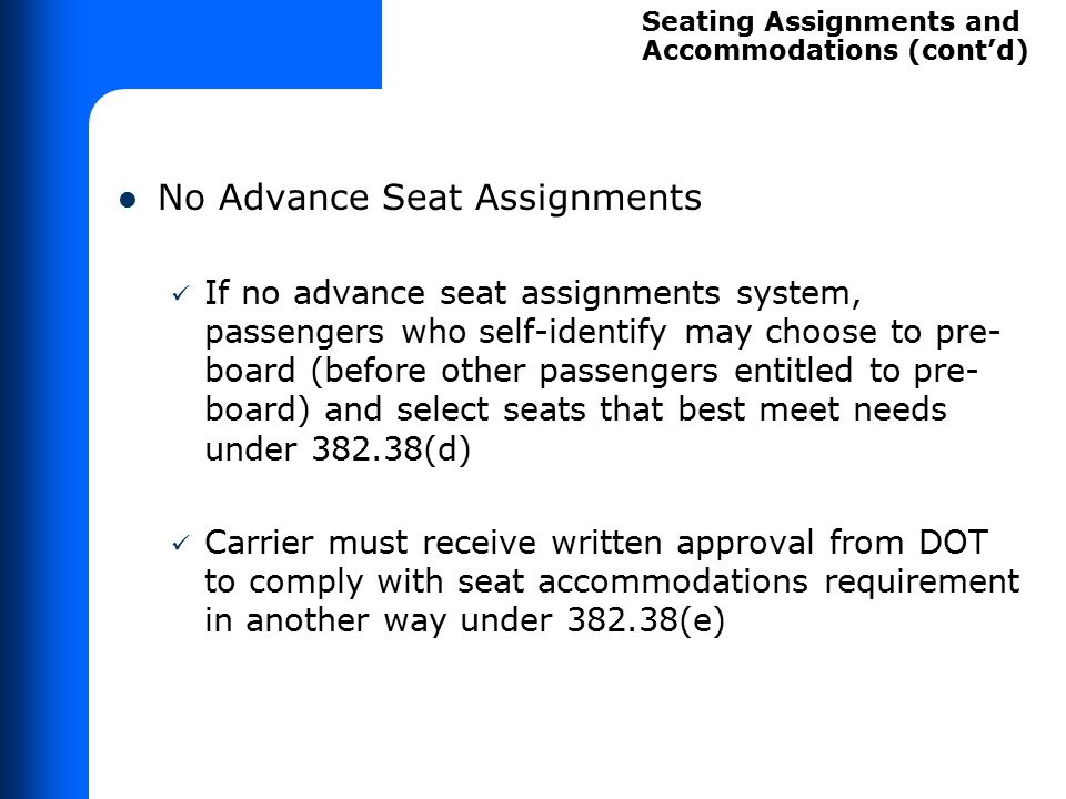 Demonstrating Law on Priority Seating Method – Short Exercise