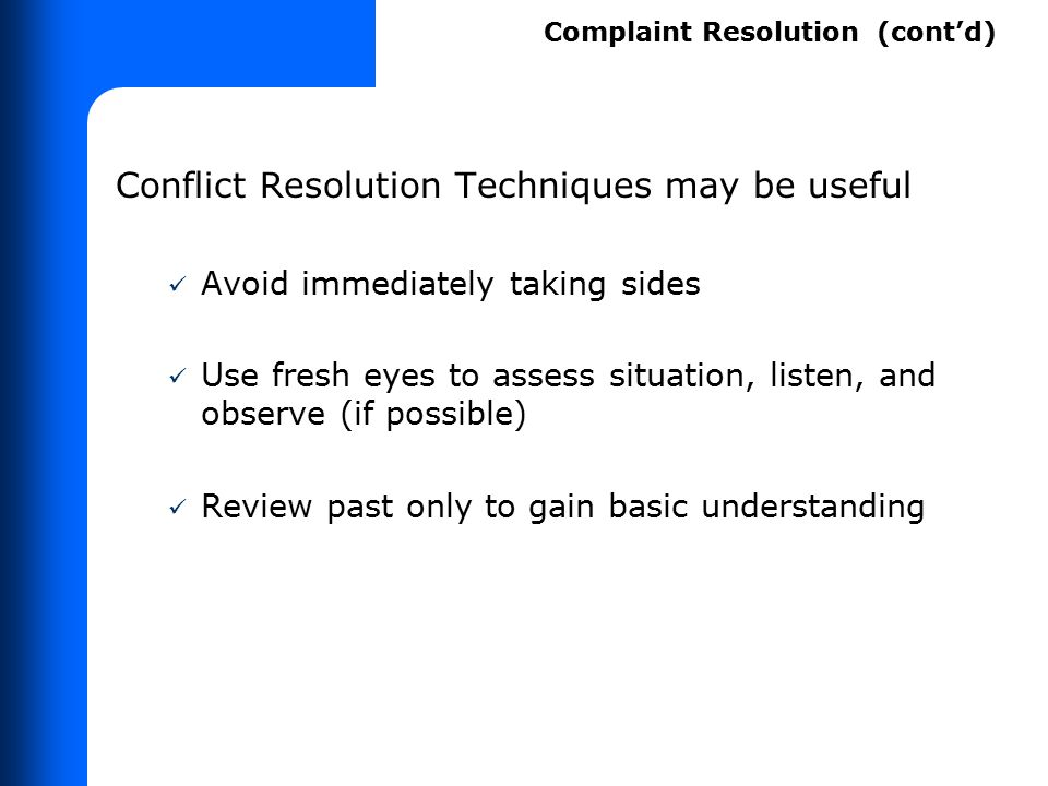 Conflict Resolution Carriers must make a complaint resolution official (CRO) available to address disability-related problems.