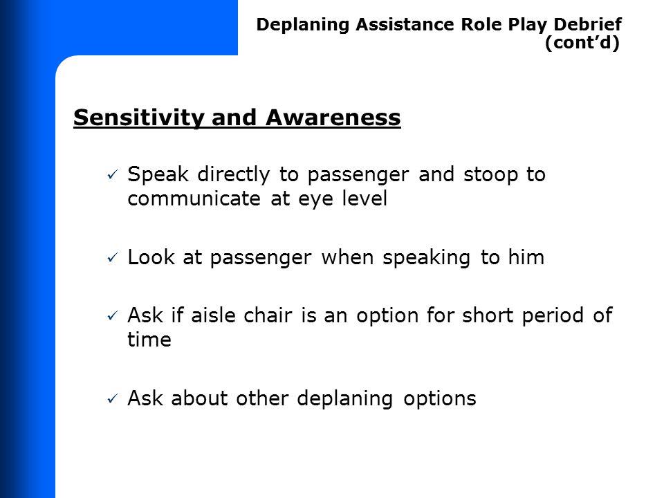 Demonstrating Law on Deplaning Assistance – Role Play