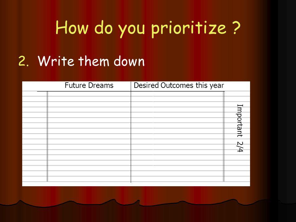 How do you prioritize 2. Write them down Future Dreams