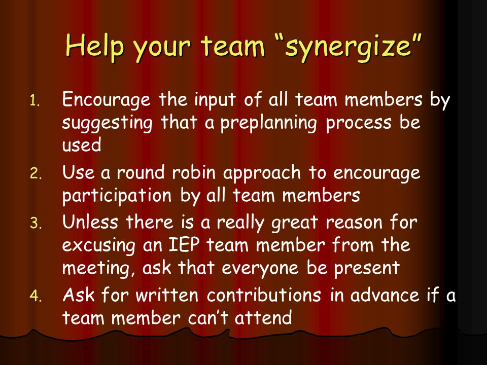 Help your team synergize