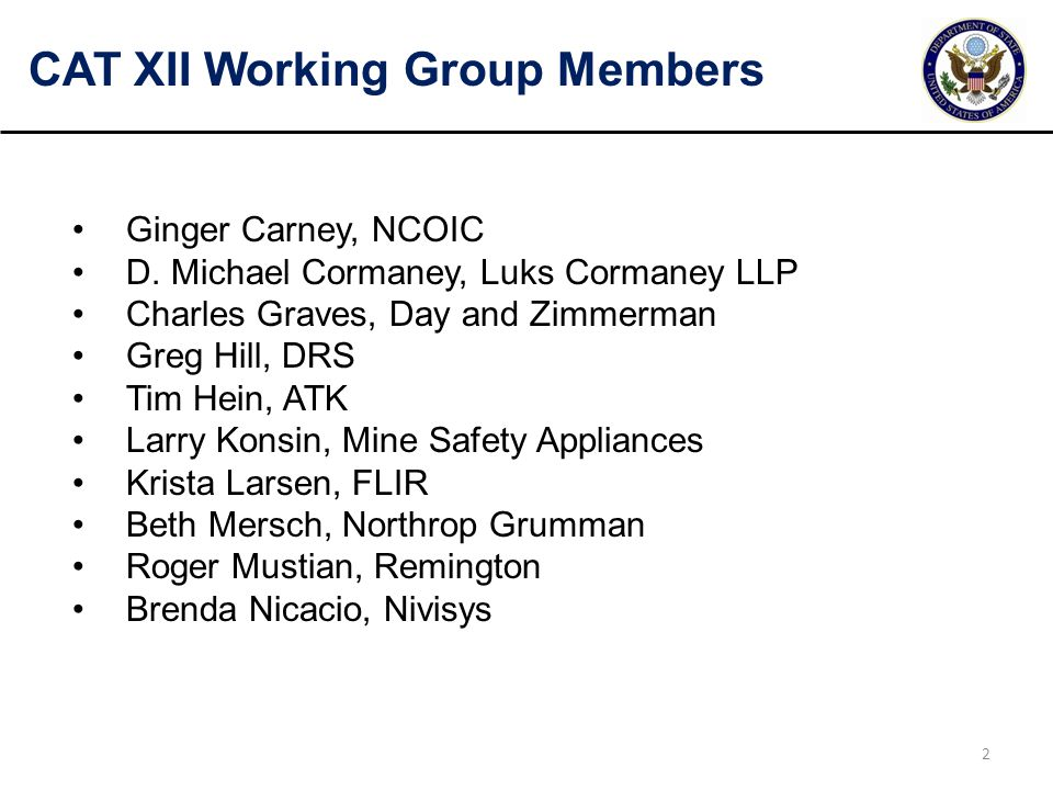 CAT XII Working Group Members