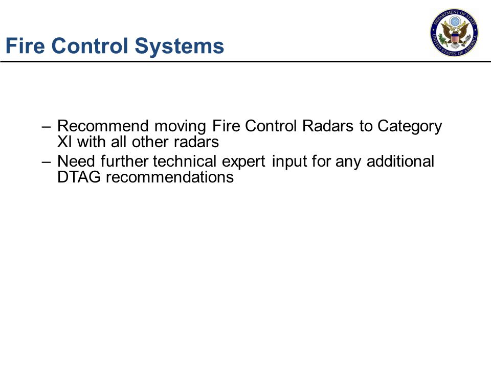 Fire Control Systems Recommend moving Fire Control Radars to Category XI with all other radars.