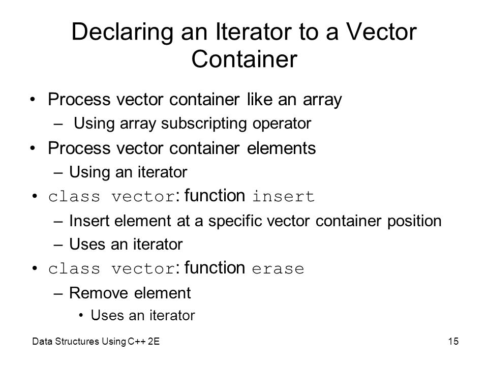 Declaring an Iterator to a Vector Container