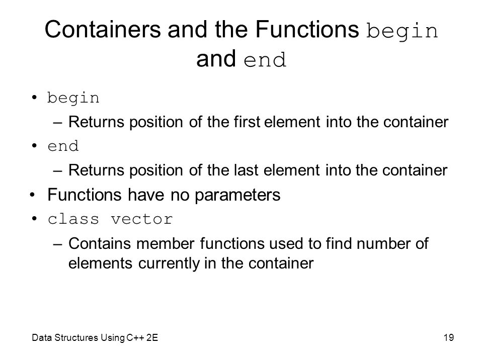 Containers and the Functions begin and end