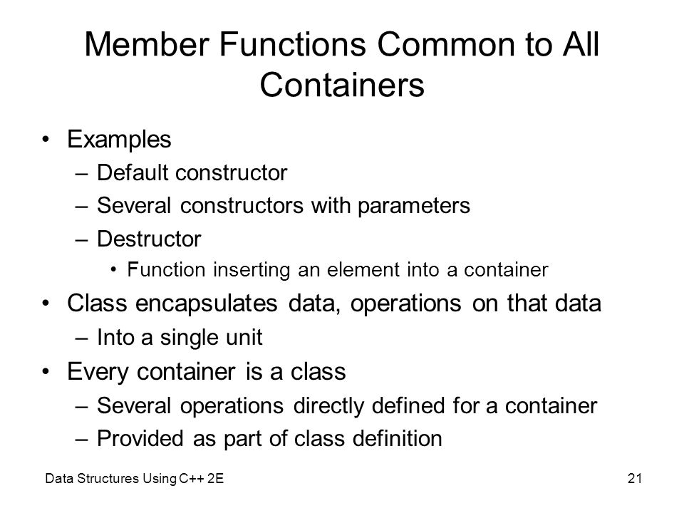 Member Functions Common to All Containers