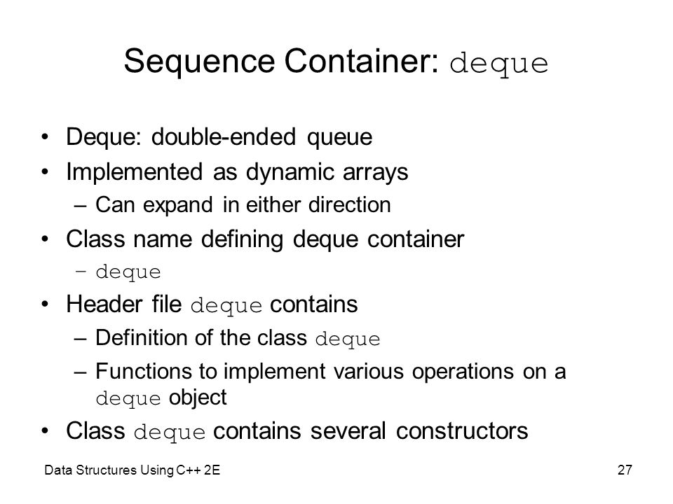 Sequence Container: deque