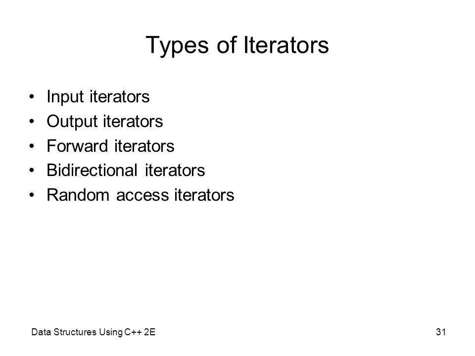 Types of Iterators Input iterators Output iterators Forward iterators