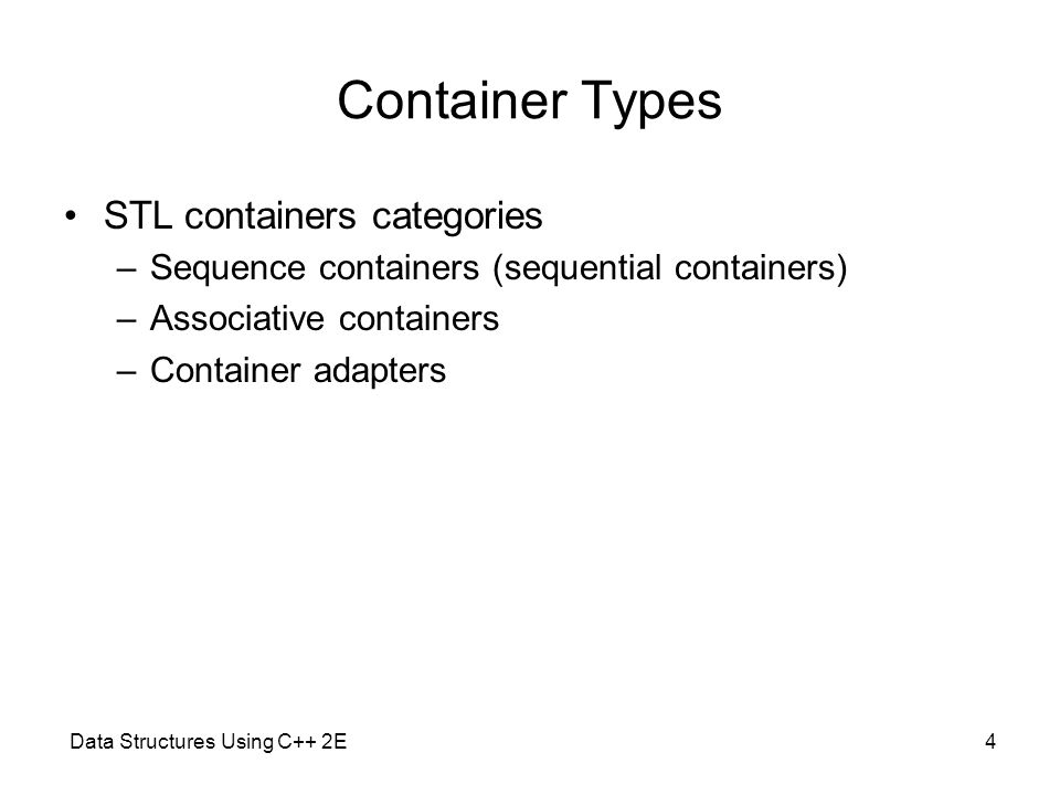 Container Types STL containers categories