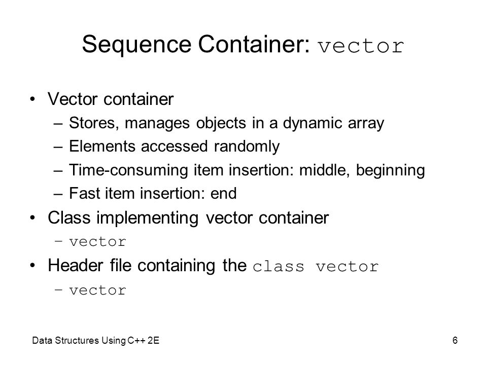 Sequence Container: vector