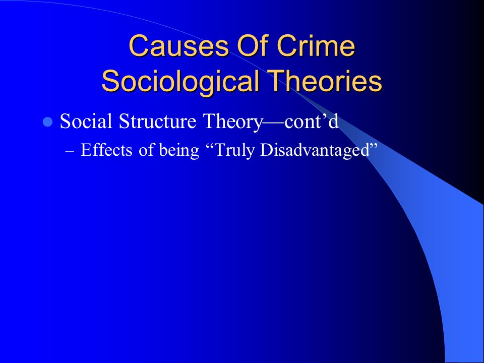 Causes Of Crime Sociological Theories