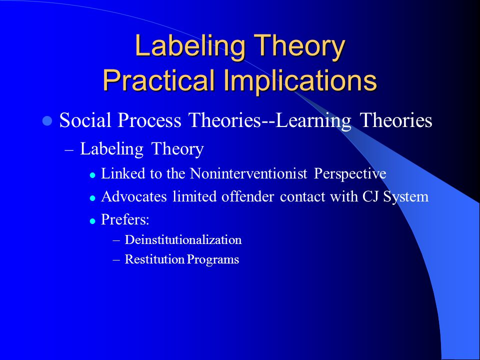 Labeling Theory Practical Implications